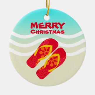 Tropical Beach Waves Merry Christmas Ceramic Ornament