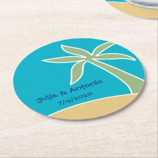 Tropical Beach Wedding Bunting Favor Coaster (6)
