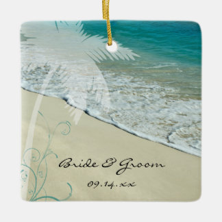 Tropical Beach Wedding Ceramic Ornament