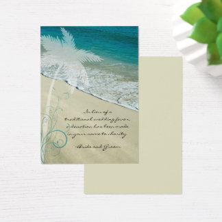 Tropical Beach Wedding Charity Favor Card