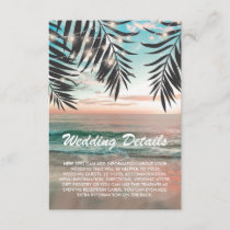 Tropical Beach Wedding Details | String of Lights Enclosure Card