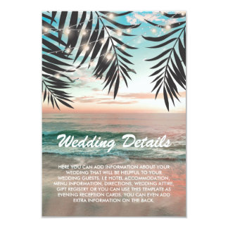 Tropical Beach Wedding Details | String of Lights Invitation