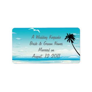 Tropical Beach Wedding Favor Lip Balm Tube Label Personalized Address Labels