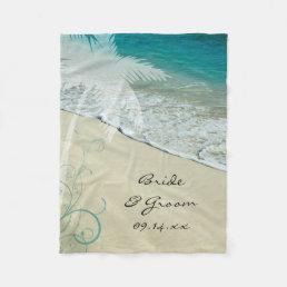 Tropical Beach Wedding Fleece Blanket