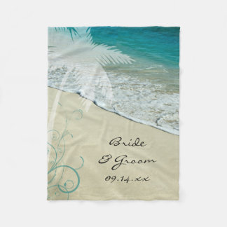 Tropical Beach Wedding Fleece Blanket