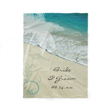 Beach Themed Tropical Beach Wedding Fleece Blanket