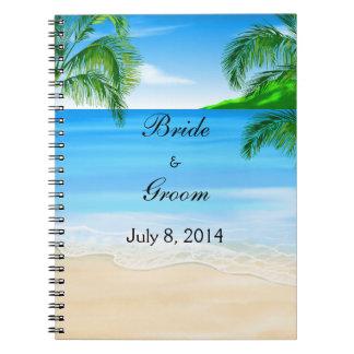 Tropical Beach Wedding Guest Book Spiral Notebook