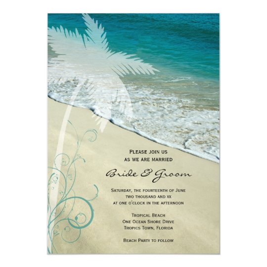 For Beach Wedding Invitation Sample: Tropical Beach Wedding Invitation