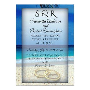 Wedding Themed Tropical Beach Wedding Invitation