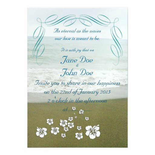 Tropical Beach Wedding Invitation Card