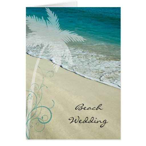 Tropical Beach Wedding Invitation Card