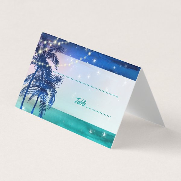 Tropical Beach Wedding Place Cards | Palm Trees