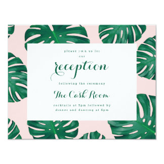 Tropical Beach Wedding Reception Card