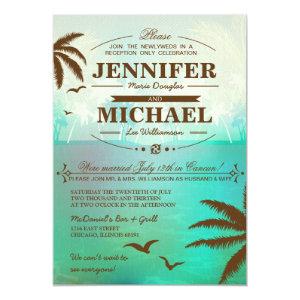 Tropical Beach Wedding Reception Only  Invitations 5