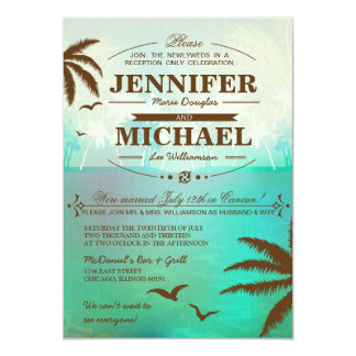tropical beach wedding reception only invitations - Wedding Reception Only Invitations