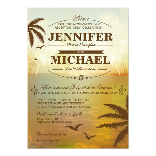 Tropical Beach Wedding Reception Only Invitations 5 X 7 Invitation Card