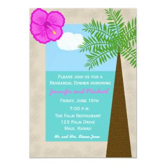 "Tropical Beach Wedding Rehearsal Dinner Invitation 5"" X 7"" Invitation Card"