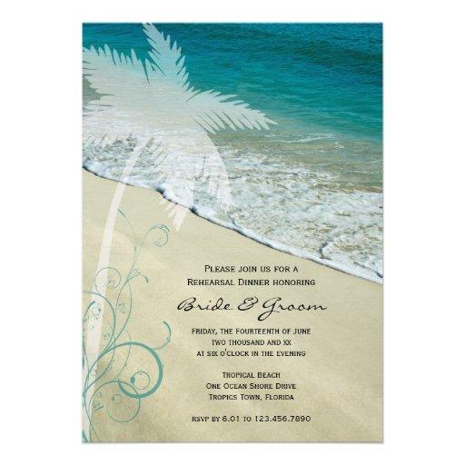 Tropical Beach Wedding Rehearsal Dinner Invite