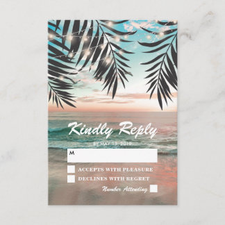 Tropical Beach Wedding RSVP | String of Lights
