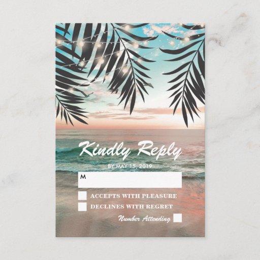 Tropical Beach Wedding RSVP String of Lights
