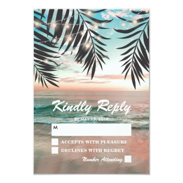 special_stationery Tropical Beach Wedding RSVP   String of Lights Card