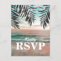 Tropical Beach Wedding RSVP | String of Lights Invitation Postcard