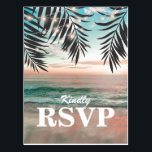 "Tropical Beach Wedding RSVP | String of Lights Postcard<br><div class=""desc"">Beach destination wedding response cards featuring a tropical palm beach setting, string twinkle lights, and a rsvp postcard template. Click on the ""Customize it"" button for further personalization of this template. You will be able to modify all text, including the style, colors, and sizes. You will find matching items further...</div>"