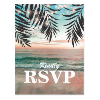 Tropical Beach Wedding RSVP | String of Lights Postcard