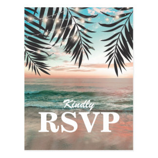 Tropical Beach Wedding RSVP | String of Lights Postcard
