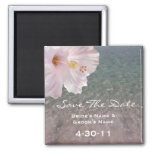 Tropical Beach Wedding Save The Date - Hibiscus 2 Inch Square Magnet