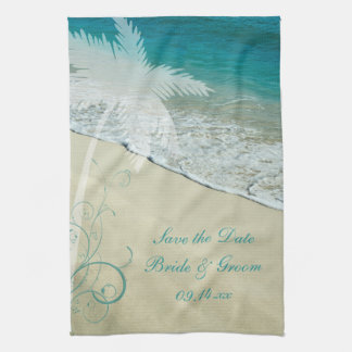 Tropical Beach Wedding Save the Date Kitchen Towel