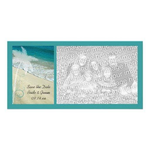 Tropical Beach Wedding Save the Date Photo Card