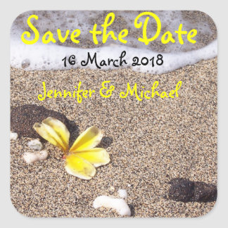 Tropical Beach Wedding / save the date Square Sticker