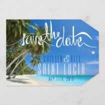 Tropical Beach Wedding Save the Date Tag
