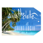 Tropical Beach Wedding Save the Date Tag Card