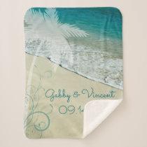 Tropical Beach Wedding Sherpa Blanket