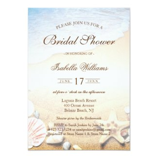 Tropical Beach Wedding Starfish Bridal Shower Invitation