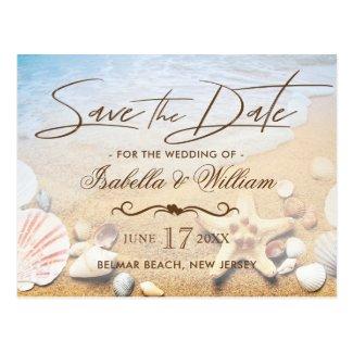 Tropical Beach Wedding Starfish Save the Date Postcard