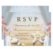 Tropical Beach Wedding Starfish Shells RSVP Card