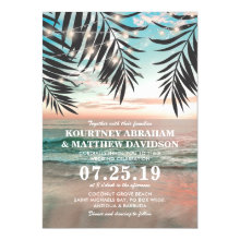 Tropical Beach Wedding | String of Lights Invitations