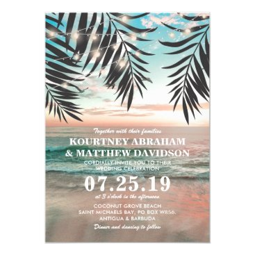special_stationery Tropical Beach Wedding | String of Lights Card