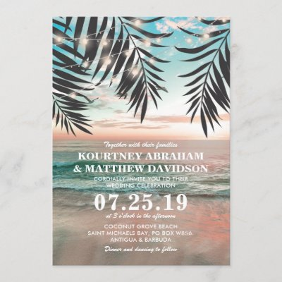 Tropical Beach Wedding | String of Lights Invitation