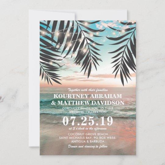 Tropical Beach Wedding   String of Lights Invitation