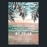 """Tropical Beach Wedding   String of Lights Invitation<br><div class=""""desc"""">Beach destination wedding invitations featuring a tropical palm beach setting, string twinkle lights, and a modern wedding template. Click on the """"Customize it"""" button for further personalization of this template. You will be able to modify all text, including the style, colors, and sizes. You will find matching items further down...</div>"""