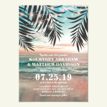 Tropical Beach Wedding | String of Lights Invitation