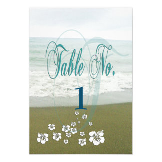 Tropical Beach Wedding Table Card