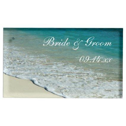 Tropical Beach Wedding Table Card Holder