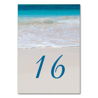Tropical Beach Wedding Table Number Cards