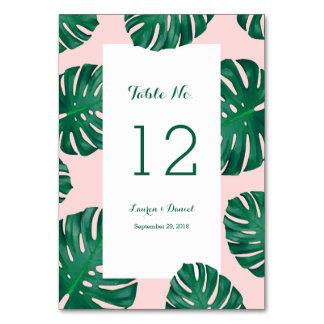 Tropical Beach Wedding Table Numbers Card