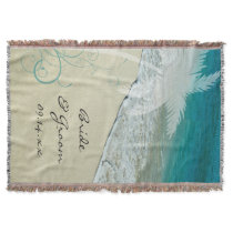 Tropical Beach Wedding Throw Blanket